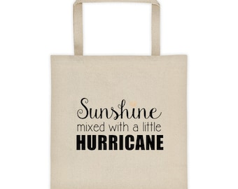 Cotton Canvas Natural Tote Bag Sunshine mixed with a little Hurricane