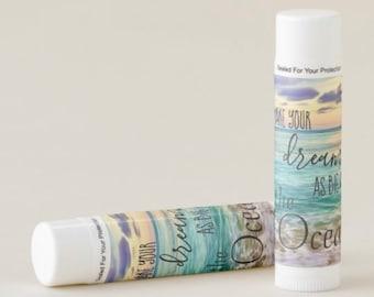 "Beeswax Lip Balm, Ocean, Motivational Quote ""Make Your Dreams As Big As The Ocean, Pina Colada Flavor, Set of 12"