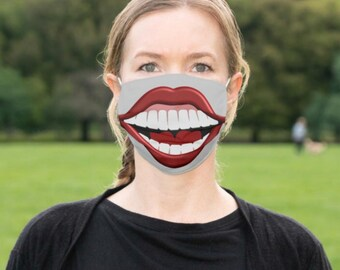 "Face Mask ""Big Smile, Happy Teeth"" Big Mouth, Men and Women Funny Mask, Halloween Smile Mask"