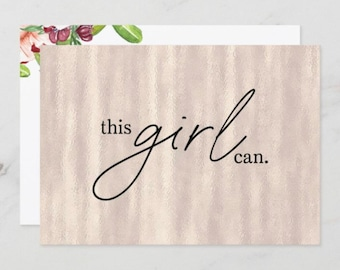 """Set of 3 Flat Cards """"this girl can."""" Blush Pearl Background, Blank, Encouragement Cards for Her, Envelopes Included"""