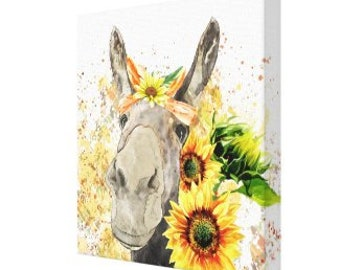 Sunflower Wall Art Decor, Canvas Print, Watercolor Donkey with Sunflowers, Size 16 X 16