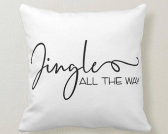 """Christmas Pillow, Words """"Jingle All the Way"""" Christmas Song, Santa Claus is coming to town""""Two Pillows in One, White, Red Gingham, Music"""