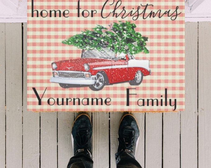 "Personalize Retro Christmas Door Mat, ""home for Christmas"" Retro Car, Vintage Style, Retro Front Porch Decor,  Red Gingham, Your Last Name"