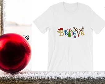 Bella Canvas Unisex Christmas T-Shirt Believe