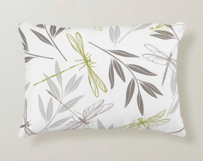 Accent Pillow, Dragonfly Pattern, Gold, Gray, White