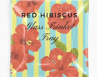 Red Hibiscus Floral Decorative Glass Tray Stripe Tropical Home Decor