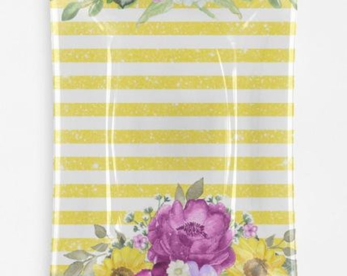 Purple & Yellow Floral and Striped Decorative Glass Tray