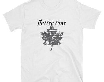 "Basic Unisex Fall T-Shirt ""Flutter Time"" Leaf"