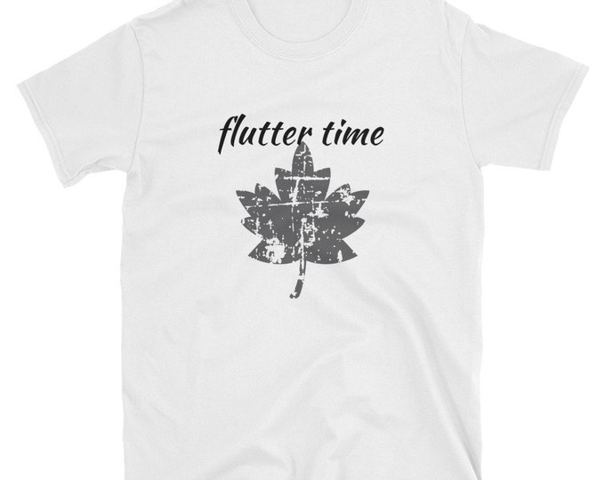"Basic Unisex Fall T-Shirt ""Flutter Time"" Leaf"