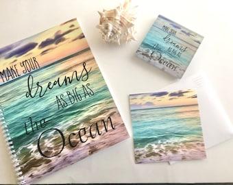"Set of 3, Ocean Daily Planner ""Dreams As Big As the Ocean"" Flat Card w/Envelope, Ocean Glass Coaster, Beach Theme Gift Set, Office Gift Set"