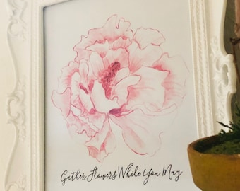 Art Print, Watercolor Pink Floral, Gather Flowers, Cottage, Farmhouse Style, Flower Typography Poster