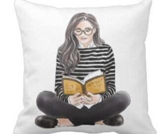 """Throw Pillow """"Reading"""""""