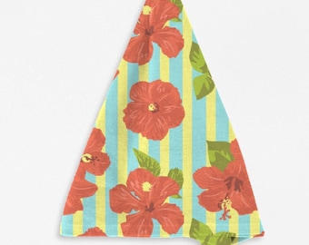 Red Hibiscus Stripe Napkins Tropical Floral Table Decor Home Decor Island Living Kitchen Decor