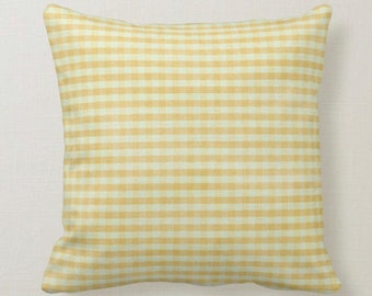 Decorative Throw Pillow, Shabby Chic, Mustard Yellow Gingham, Picnic Check,  Farmhouse Style Gingham, Distressed Gingham, Throw Pillow
