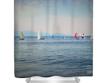 "Shower Curtain ""Sailboat Regatta"""