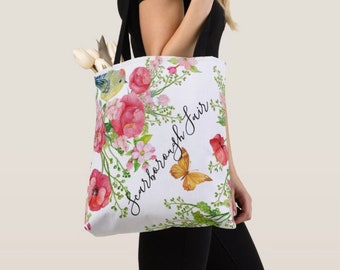 "Tote Bag, Red Poppy ""Scarborough Fair"" Floral, Butterfly, Bag"