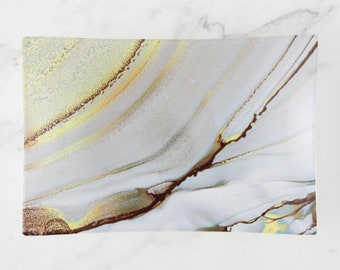 """Abstract Glass Tray, Trinket Dish """"Sunset"""" Abstract Design, Spa Bathroom, Elegant Escape"""