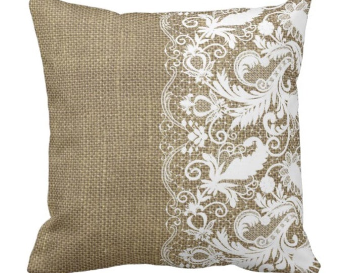 Throw Pillow Fall Decor Rustic Decor Lace Trim & Burlap Farmhouse Decor Decorative Pillow Home Decor