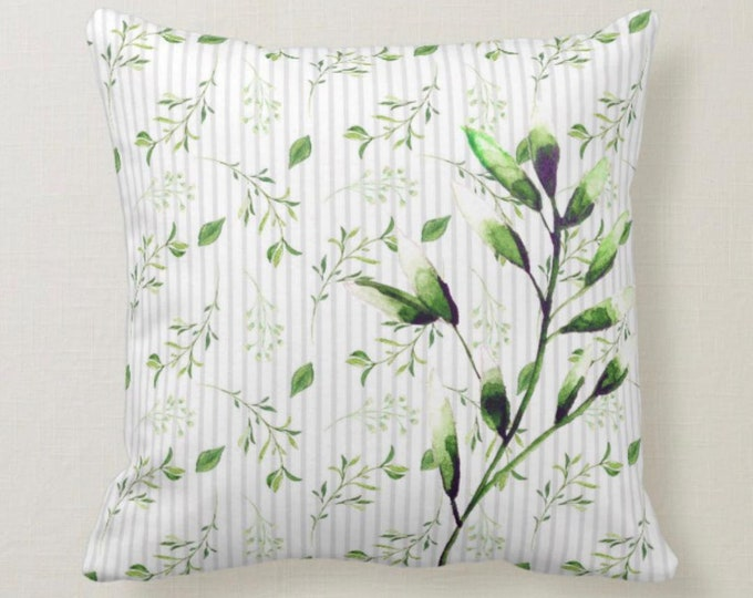 Soft Grey Stripe with Watercolor Green Botanical Throw Pillow 16 X 16