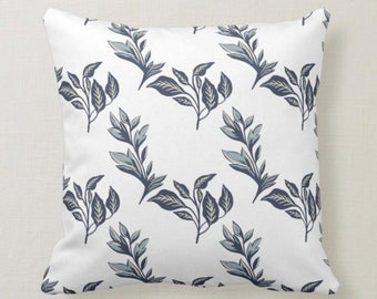 Botanic, Dark Grey, Leaf Pattern on White, Throw Pillow