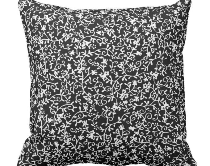 Black & White Floral Square Throw Pillow