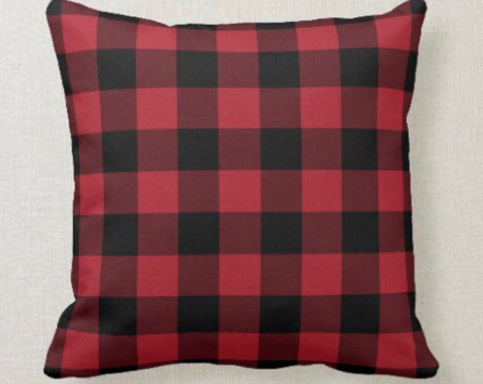 Buffalo Plaid Throw Pillow, Red and Black, Checked Pillow, 16 X 16, Pillow and Insert, Christmas Decor, Winter Decor, Adirondack Plaid