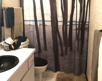 """Shower Curtain """"Lonely Trees by the Sea"""" Coastal Decor, Landscape Photography Art, Beach Bath Decor, Beach Home Decor"""