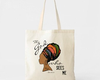 "Canvas Tote Bag ""The God Who Sees Me"", Colorful Tote, Woman in Turban, Hagar, Bible Verse, Religious Tote Bag"