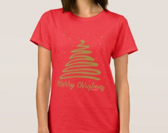 "Women's Red ""Merry Christmas"" T-shirt Christmas Tree"