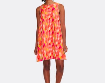 A-Line Dress Yellow, Peach, Orange,  Watercolor Dragon Scale Pattern, Women, Flatters All Figures, Loose  Flowy Style