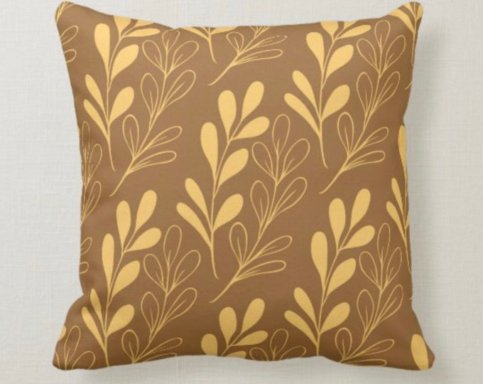 Fall Pillow, Earth Tone, Brown and Gold, Botanical and Leaves, Nature Inspired Pillows, Minimalist Style, Contemporary Pillow