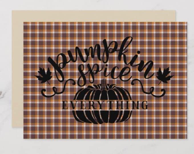 5 X 7 Fall Flat Greeting Card Plaid Pumpkin Spice Everything
