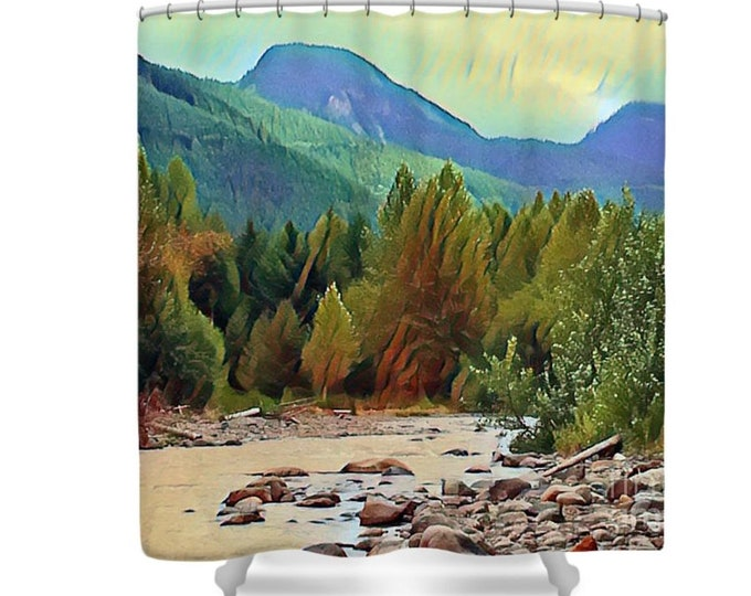 Shower Curtain, Mountain Splendor,  Landscape, River, Watercolor, Art Photography, Cabin Bath, Rustic Style, Wilderness Curtain