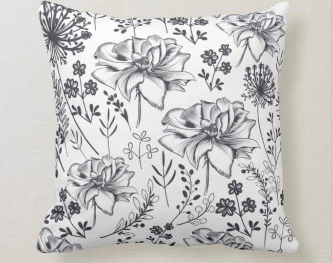 Throw Pillow, Floral Pattern, Roses, Wildflowers, Black & White,