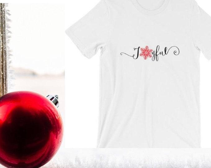 Christmas Shirt Joyful Snowflake Bella Canvas Unisex T-Shirt