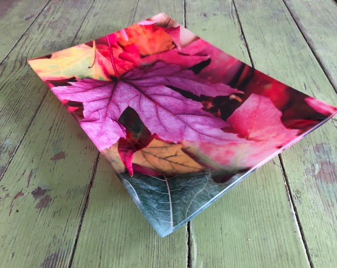Decorative Tray, Glass Tray, Serving Tray, Home Decor, Tray, Colorful Leaves, Christmas Decor, Home Decor, Serving Tray, Bath Tray