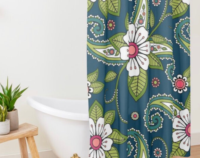 Polyester Shower Curtain, Paisley Doodle Floral, Standard Size, White, Green, Navy