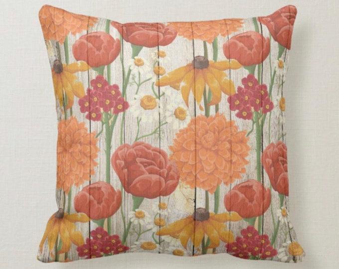 Throw Pillow, Autumn Wildflowers, Orange, Yellow, Floral Accent Pillow