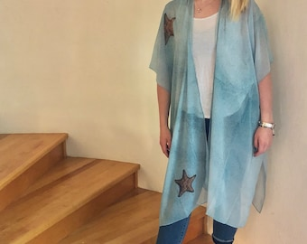 Turquoise and Brown Starfish Sheer Wrap