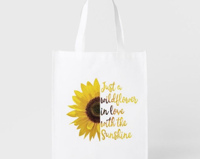 Reusable Shopping Bag, Just a Wildflower in Love with Sunshine Grocery Bag