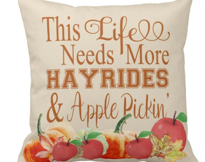 Throw Pillow Fall Hayrides & Apple Pickin'