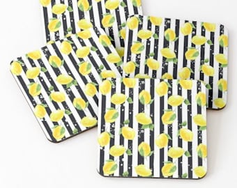 Coaster Set of 4, Zesty, Yellow Lemons, Black & White Stripe, Lemon and Stripe, Coaster Set
