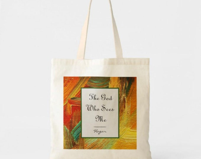 "Tote Bag, ""The God Who Sees Me"", Hagar, Religious Tote, Bible Verse, Faith Tote Bag, Gen. 16: 13"
