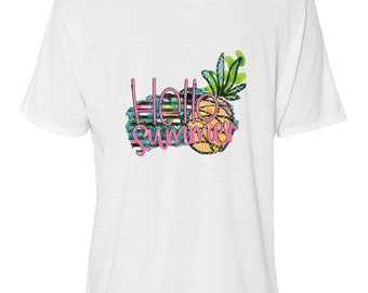 "Bella Women's Flowy Slouchy Tee ""Hello Summer"" Pineapple, Women's T-shirt, S-Plus Size"