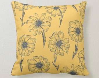 Daisy Throw Pillow, Mustard Yellow, Gray Daisy Pattern, Daisy Floral Pattern Pillow