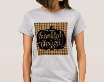 """Women Fall T-shirt Pumpkin """"Thankful & Blessed"""""""