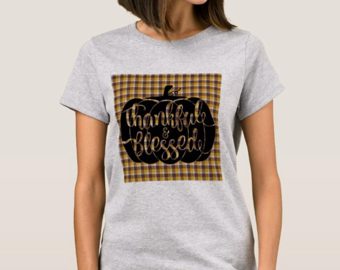 "Women Fall T-shirt Pumpkin ""Thankful & Blessed"""