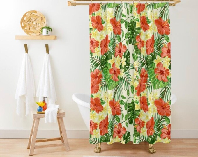 Polyester Shower Curtain, Floral,Tropical Flower, Red Hibiscus, White Plumeria, Tropical Leaves,