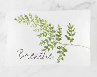 "Glass Tray, ""Breathe"" Green Fern, Botanical, Trinket Tray"