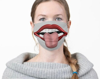 Face Mask, Stick Your Tongue Out, Big Mouth, Men and Women Funny Mask, Halloween Smile Mask